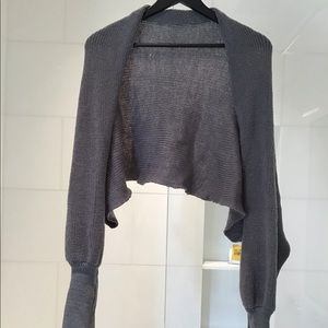 Knit long sleeve Gray wrap worn 5 different ways